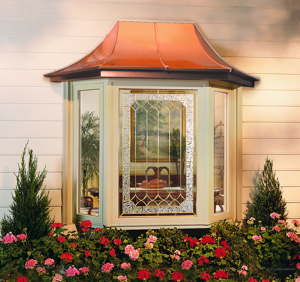 Soft-Lite Bay window with copper roof and decorative glass